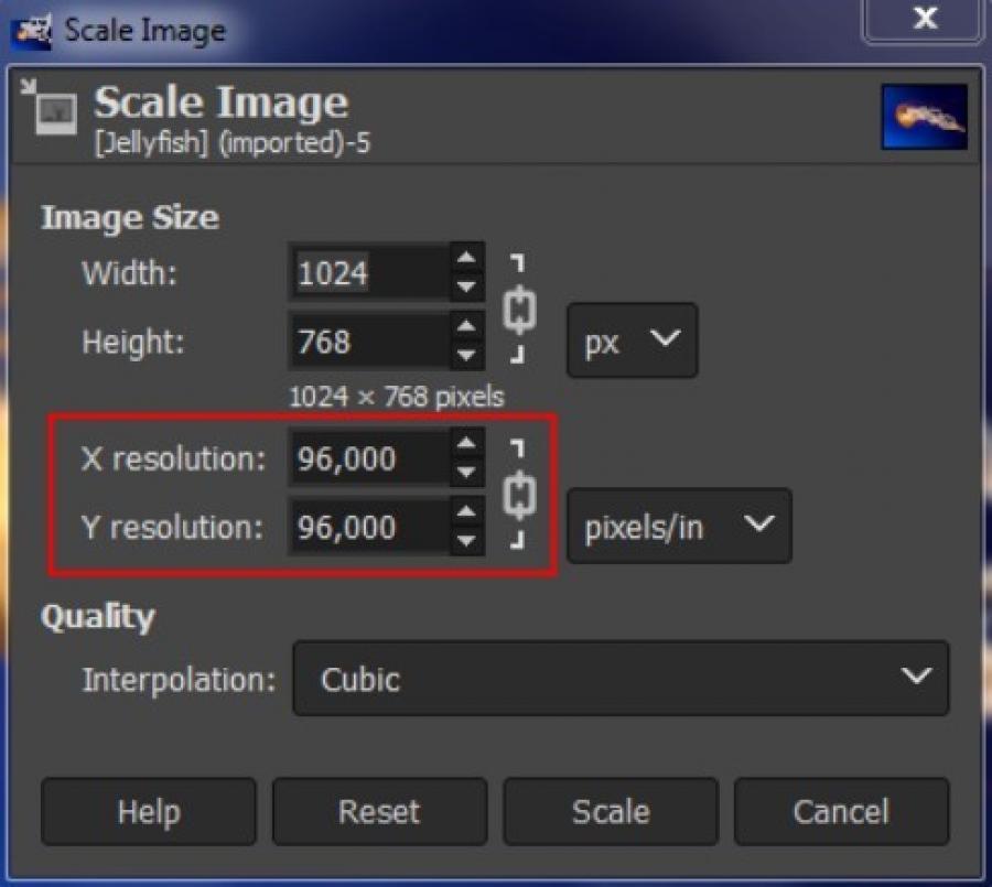 GIMP set resolution