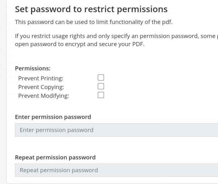 PDF2GO set restrictions