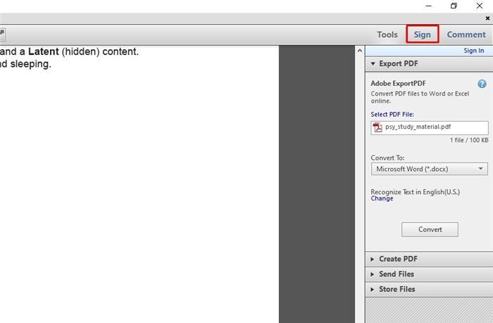 eSign with Adobe step1
