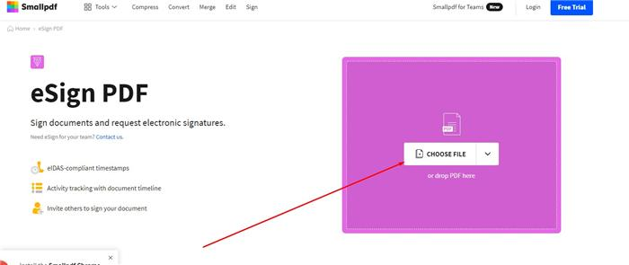 eSign with Smallpdf step 1